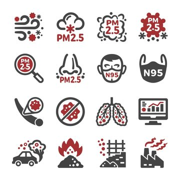 air pollution,pm 2.5 icon set,vector and illustration