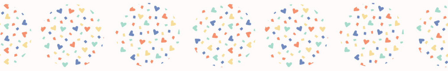 Love heart confetti polka dot vector border. Hand drawn repeating edge trim. Abstract kawaii rainbow circle illustration for trendy fashion prints, kids room home decor banner ribbon.