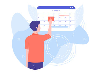 publicités dynamiques annonceurs A man makes an appointment with an online doctor. On the calendar selects the desired date. Colorful trend vector illustration.