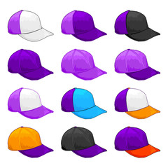 Purple Cap, Vector Variety of color Combinations caps Template