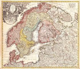 1730, Homann Map of Scandinavia, Norway, Sweden, Denmark, Finland and the Baltics