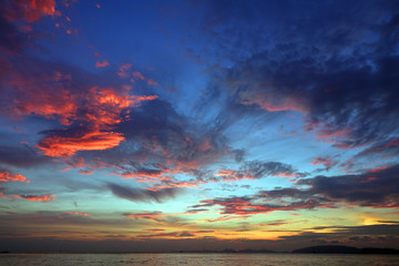 Wall Mural - Sky background after tropical sea sunset