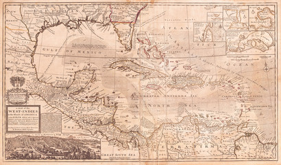 Fototapete - 1732, Herman Moll Map of the West Indies, Florida, Mexico, and the Caribbean
