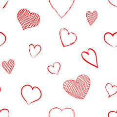 Seamless pattern with red heart hand drawn isolated on white background. Vector illustration