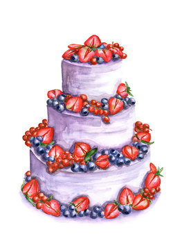 Watercolor three tier cake with strawberries, blueberries and currants. Illustration isolated on a white background. For greeting postcard, poster for cafe and pastry shop. Delicate pie with berries