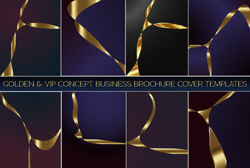 Luxury & VIP concept brochure, flyer or business card & invitation card template, backgrounds, banners set.