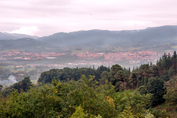 Aerial view of Irun in the Basque Country on a cloudy day
