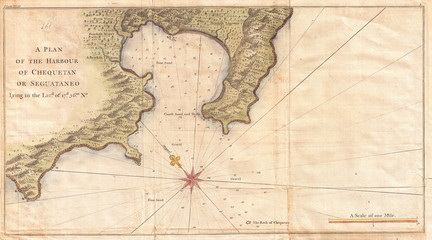 1745, Anson Map or Chart of Zihuatanejo Harbor, Mexico