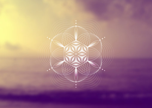 """Vector template; Spiritual sacred geometry; Abstract geometric shape based on ancient symbol - """"flower of life"""" on psychedelic natural photographic background; Yoga, meditation and relax."""