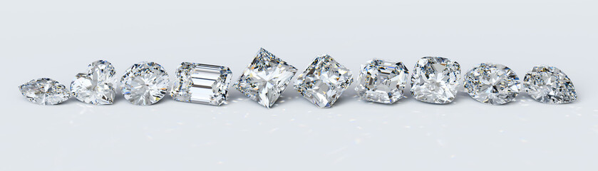 Ten the most popular diamond cut styles in line on white background