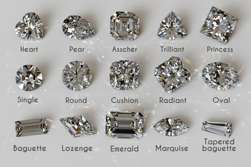 Fifteen popular diamond cut styles with titles on white background