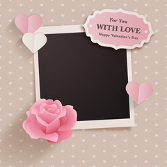 Scrapbook style valentine's day design with photo template and cute romantic elements