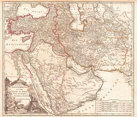 1753, Vaugondy Map of Persia, Arabia and Turkey