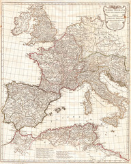 Fototapete - 1763, Anville Map of the Western Roman Empire, including Italy