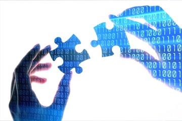 Business partnership puzzle connection teamwork solution