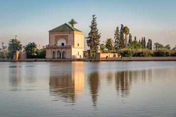 Poster Marokko View of the famous landmark Menara Gardens in Marrakesh Morocco