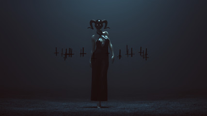 Demon Nun in a Skull Mask and Black Pant Suit Futuristic Haute Couture Dress and Upside Down Floating Crosses Abstract Demon 3d illustration 3d render