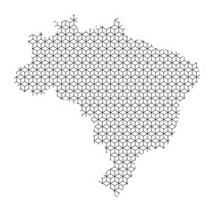 Brazil map abstract schematic from black lines repeating pattern geometric background with rhombus and nodes from rhombuses. Vector illustration.