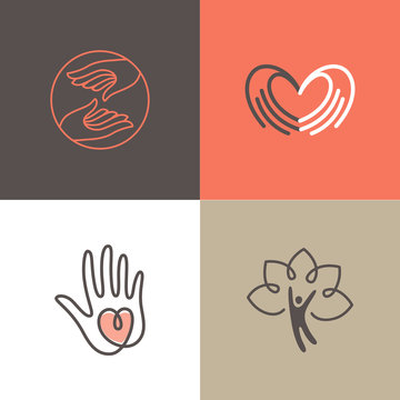 Vector set of logo design templates - charity and volunteer concepts