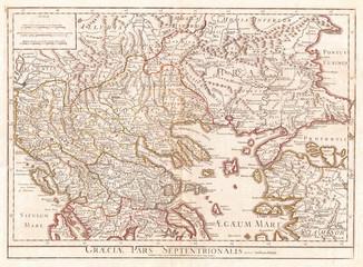 1794, Delisle Map of Northern Ancient Greece, Balkans, Macedonia