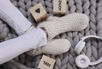 Cozy and calm . Positivity,inspiration, motivation concept, Enjoy life concept