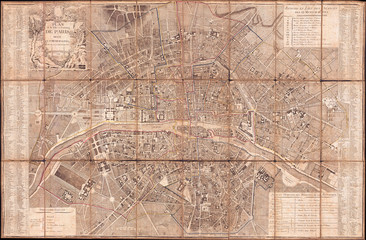 1797, Jean Map of Paris and the Faubourgs, France