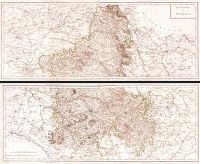 Fototapete - 1797, Tardieu Map of Champagne, France