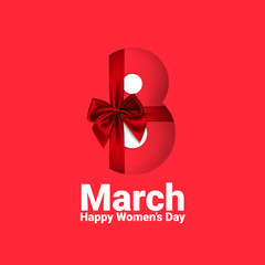 8 March number design with red bow and ribbon, Happy Women's Day vector illustration. - Vector