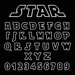 Lines alphabet font template. Set of letters and numbers futuristic design