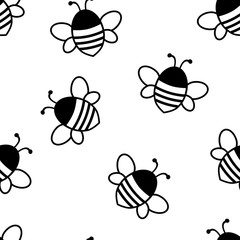 Seamless pattern with black cute bees isolated on white background. Vector illustration