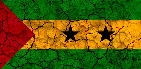 sao tome and principe country flag painted on a cracked grungy wall