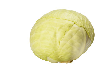 Raw green cabbage isolated on white background.