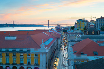 Wall Mural - Lisbon Old Town street twilight