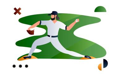 Baseball player, pitcher throwing ball. Creative vector illustration