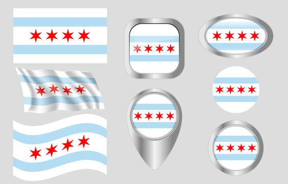 Flag of Chicago, Illinois
