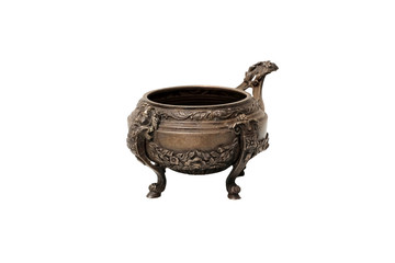 Antique bronze Bowl on a white background. Isolated.