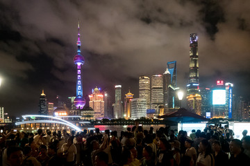 night scene of large buildings of the financial district of Beijing, China