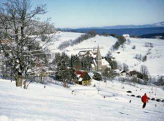 Zieleniec, Lower Silesia Region, Poland: February, 2011 - ski lift in Zieleniec