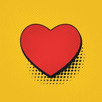 Valentine's Day comic pop art background. Retro poster heart