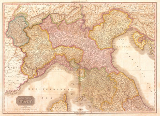 Fototapete - 1818, Pinkerton Map of Northern Italy, Tuscany, Piedmont, Milan, Venice , John Pinkerton, 1758 – 1826, Scottish antiquarian, cartographer, UK