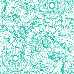Coloring book page design with turquoise pattern. Mandala ethnic ornament. Isolated vector illustration in zentangle style. Can be used for fashion fabric print on textile