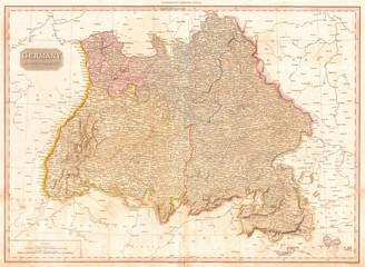 1818, Pinkerton Map of Southwestern Germany, Bavaria, Swabia, John Pinkerton, 1758 – 1826, Scottish antiquarian, cartographer, UK