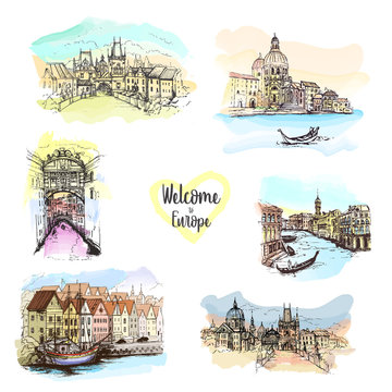 Watercolor splash with Hand drawn sketch illustration in vector.Drawing Europe travel set. Prague.Venice.Italy.Copenhagen.Tourism.