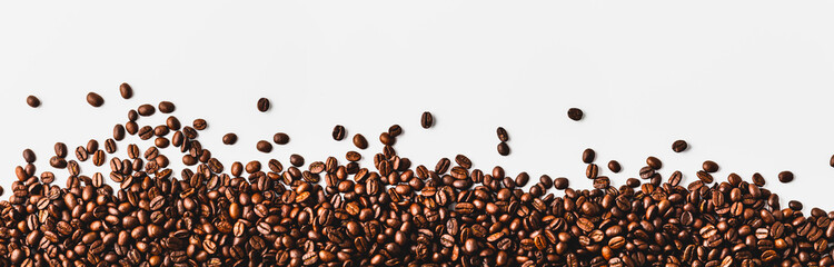 coffee beans  on a white background Wall mural