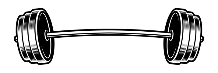 Black and white illustration of a barbell
