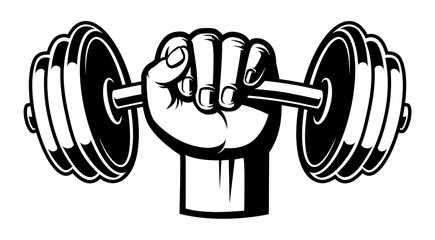 Black and white illustration of a hand with dumbbell.