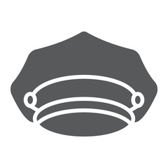 Police hat glyph icon, police and uniform, cap sign, vector graphics, a solid pattern on a white background.
