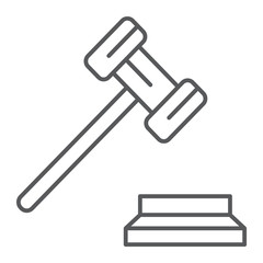 Gavel thin line icon, justice and judge, hammer sign, vector graphics, a linear pattern on a white background.