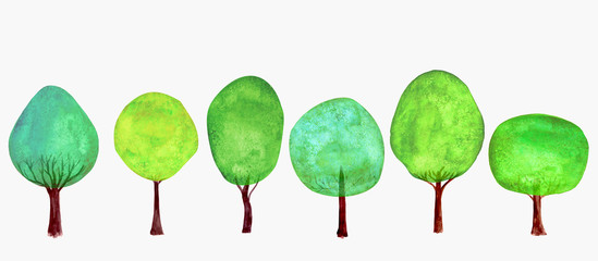 Trees set. Summer background. Watercolor cartoon green colorful fresh tree collection