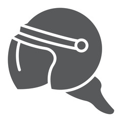 Helmet glyph icon, protection and uniform, police helmet sign, vector graphics, a solid pattern on a white background.